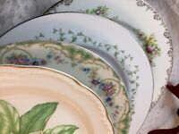 4 Vintage Mismatched China Dinner Plates Wedding Boho Event Colorful # 317