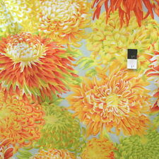 Philip Jacobs PJ41 Japanese Chrysanthemum Yellow Cotton Quilting Fabric By Yard