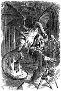 John Tenniel The Jabberwocky Poster Reproduction Paintings Giclee Canvas Print