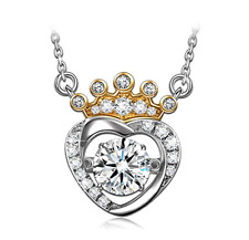 Dancing Heart Lovely Crown 925 Sterling Silver Necklace for Women perfect Gift