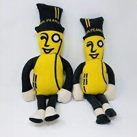 """Lot of 2 Vintage Planters Mr. Peanut Stuffed Rag Dolls Advertising 20.5"""" & 18.5"""""""