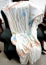 vintage CHENILLE BEDSPREAD blanket FLORAL stripe
