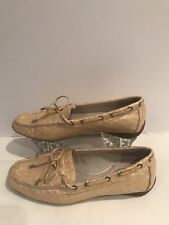 Sperry Top Sider women Beige croc pat leather driving moccasin mocs shoes Sz 7.5