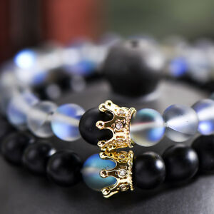 Luxury Couple His And Hers Distance Bracelets Moonstone Beads CZ Crown Lovers