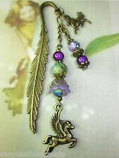 Beaded Bookmark Horse Pegasus Purple Flowers Animals Handmade Bronze Design
