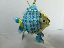 Cloisonne Enameled Articulated Large Tropical Fish Ornament Teal Yellow Metal