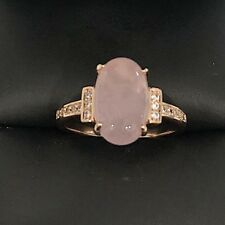 Sparkling 2 Ct Oval Pink Quartz Paved Band Ring Women Engagement Wedding Gift