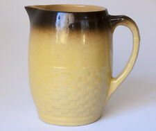 Yellow Basketweave Pitcher Brown Glaze on Rim Medalta Potteries Redcliff Alberta