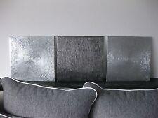 3-er Bild Struktur Abstrakt modern acryl,2xSilber,1xAnthrazit je40x40cm