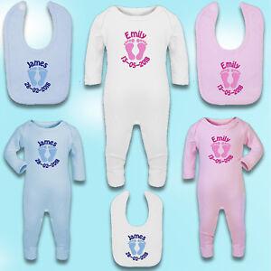 Embroidered Personalised Sleepsuit / Babygrow / Bib - Footprint