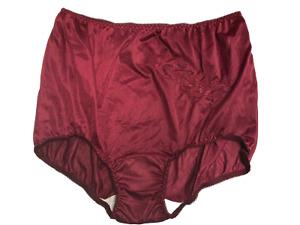 (2) Contessa Nylon Brief Panties Decorative Applique Plus Size 15 / 8X  BURGUNDY