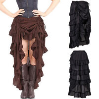 Womens Ruffled Pleated Vampire Pirate Show Girl Skirt Steampunk Retro Victorian