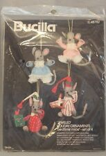 Bedtime Mice Set of 4 Felt Jeweled Holiday Ornaments Bucilla 48782 Christmas NEW
