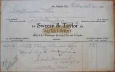 Taxi 1912 Letterhead: Sweesy & Taylor Auto Livery - Los Angeles, Ca California