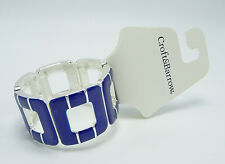 New Silver & Blue Nautical Style Summer Stretch Cuff Bracelet $20 Tags #B1302