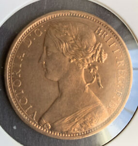 1863 BRITISH PENNY~SUPER HIGH GRADE ~ BEAUTIFUL LUSTER ~SEE PHOTOS.