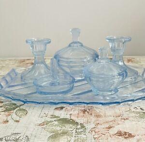 Vintage Art Deco Style Blue Glass Dressing Table Vanity Set