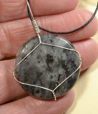 Larvikite Faceted Stone Silver Wire Wrapped Healing Chakra Crystal Pendant