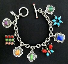 LEO FEENEY Navajo Silver and Turquoise Charm Bracelet STERLING RARE *TB389