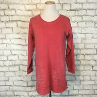 Soft Surroundings Women's Red Distressed Longsleeve Tunic Shirt Size XS Extra S