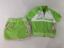 Apple Bottoms Girls Size 4 Outfit Zip S/S Jacket Shorts Set Green Pink White EUC