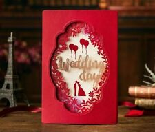 Laser Cut Wedding Day Invitation Card Red Folding Type Pattern Weddings Ornament