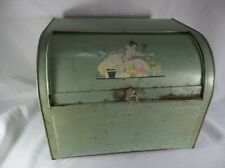 Vintage Green Roll Top Bread Box Southern Bell Lady Flowers Glass Knob