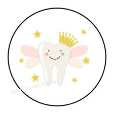 """30 Tooth Fairy Girl Envelope Seals Labels Stickers Party Favors 1.5"""" Round"""