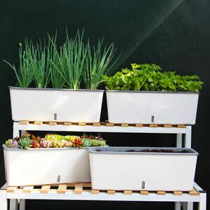 Self-Watering Planter Pots Long Strip, Double Layer for Indoor, Garden,Decor HOT