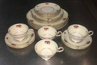 Castleton China Jubilee Place Settings 4 Total Of 20 Pcs Red Flower Gold Trim