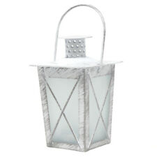 Metal Distressed Lantern Tealight Candle Holder with Handle, White, 4-3/4-Inch