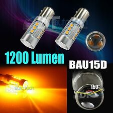 2X BAU15D 60W Amber Yellow LED White Turn Signal Brake Tail Light Bulbs
