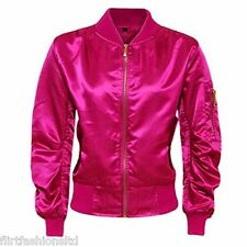 Womens Ladies Ma1 Bomber Satin Jacket Coat Biker Army Celeb Thin Summer Vintage UK M (12) Cerise