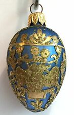 Egg Ornament Blue Gold Glass Glitter Two Headed Eagle Christmas Easter