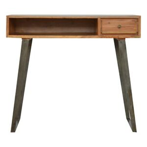 Solid Caramel Wood Industrial Style Writing Desk with Iron Metal Legs & Drawer