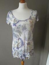 MARKS & SPENCER Ladies Cream Mix Patterned Frill Hem Top T Shirt Size 14 VGC