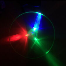 LED Flashing Plastic Pull String Flying Saucer Propeller Toys Disc Helicopter