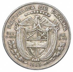 SILVER Roughly Size of Quarter 1953 Panama 1/4 Balboa World Silver Coin *157