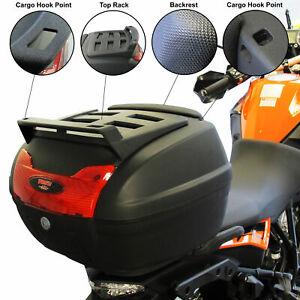Universal 40L Motorcycle Motorbike Top Box LARGE Back Rear Luggage Case Black