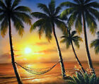 Sunset Beach Hammock Hawaii Caribbean Palm Trees Oil Painting 20X24 STRETCHED