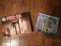Lot Of 2 3D Puzzle Wrebbit Old Mansion And Tradition Collection