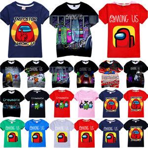 Among Us Game Impostor Crewmate T-shirt Kids Boys Girls Blouse Tops Tee Shirts