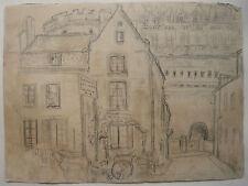 DESSIN Ancien Paysage Château Calèche Cheval AMBOISE Loire Tours c.1920/1930 #5