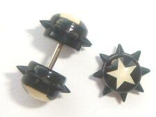 1,2 mm De 16 G Negro Plástico Acrílico Star Y Spike Cheater enchufe pendiente Stud Bar