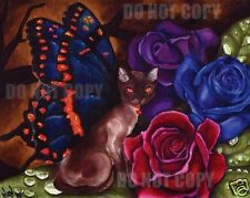 ORIGINAL OIL PAINTING CAT BUTTERFLY Fairy Art by VERN