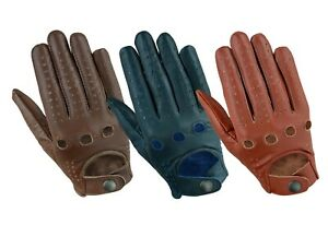 Mens Premium Cow Naked Leather Classic Retro style Chauffer Car Driving Gloves