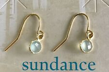 "NEW $68 Sundance Catalog 3/4"" Seafoam Chalcedony 12kt Gold GF Earrings NWT"