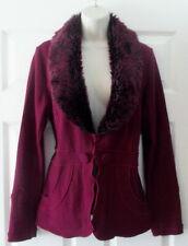 Roz & Ali Women's Dark Raspberry Fur Collar Wool Blend Cardigan Sweater Sz L