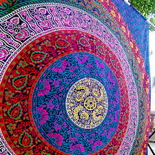 Queen Size Bohemian Mandala Tapestry Wall Hanging Purple Bedspread Home Decor
