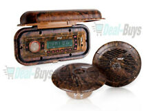 Pyle Camo Radio Headunit Receiver, Pair of Waterproof speakers & Radio Cover